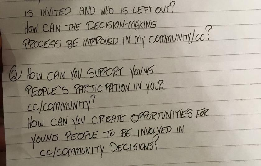 Sample discussion question from the Youth In Action Workshop