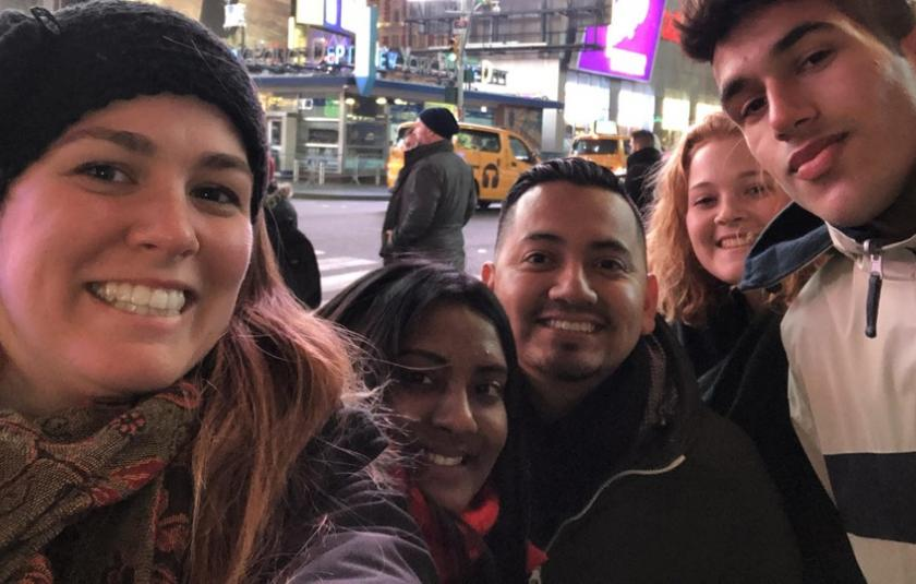 Trip participants in Time Square