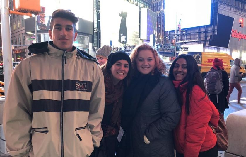 Trip participants in Time Square 2