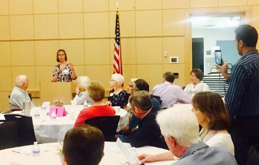 Barb Anderson speaking at Prayer Breakfast in Dublin, Ohio