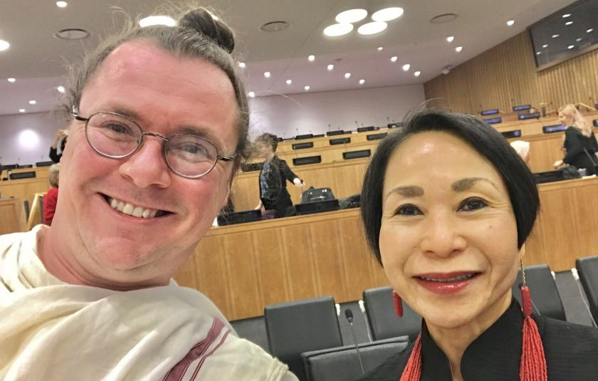 Patrick Horn with Audrey Kitagawa, Chair of the Parliament of the World's Religions