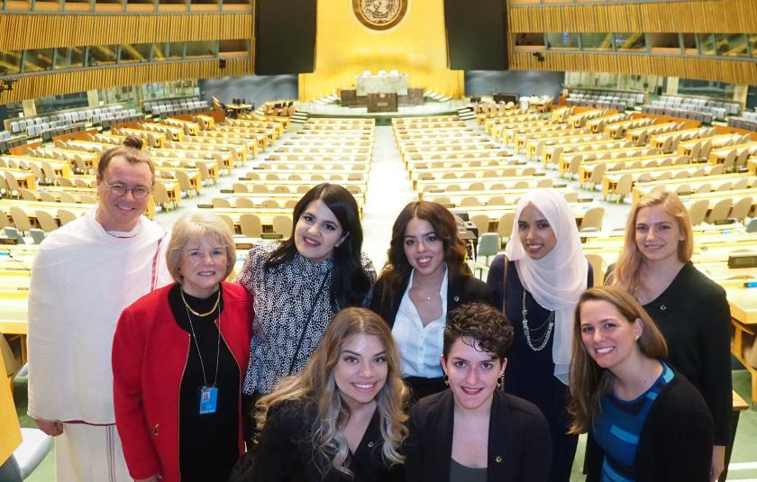 URI leaders in the General Assembly room at the UN.