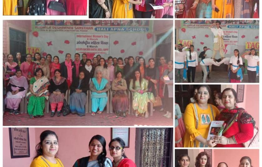 A picture collage of women being felicitated.