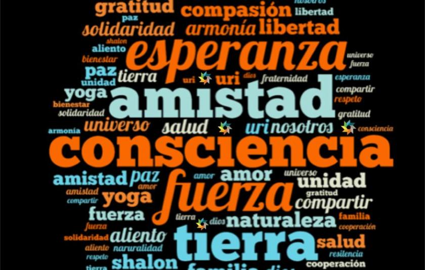 Photo: sigh with words of hope choosen by URI Latin America & Caribbean many words of hope and love