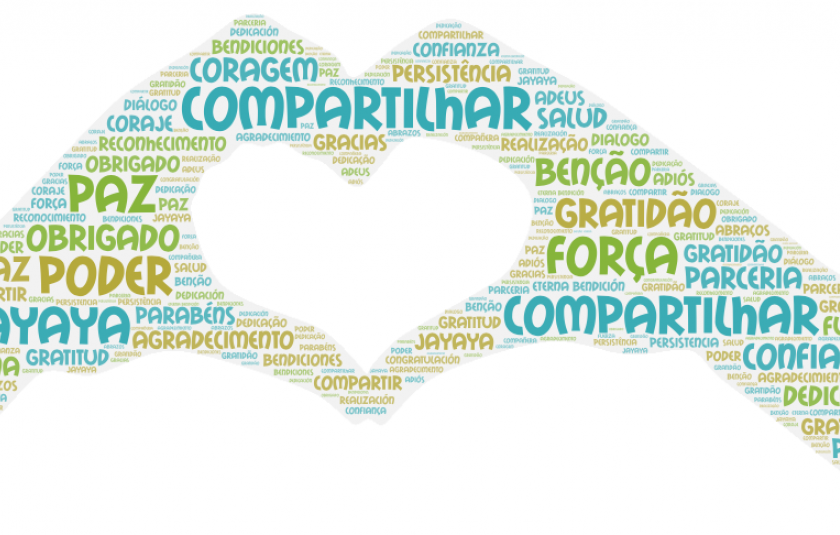 Photo: word cloud with the farewell words in Portuguese