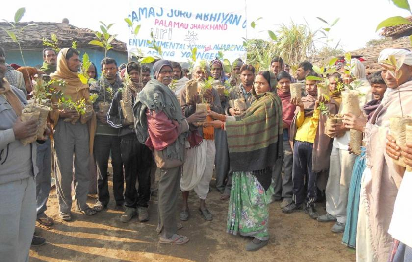 Asia CC giving trees to village