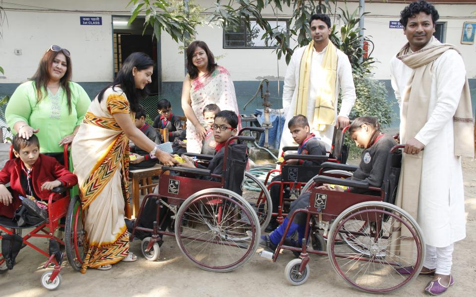Kathak Dharohar CC with disabled children on World Handicap Day
