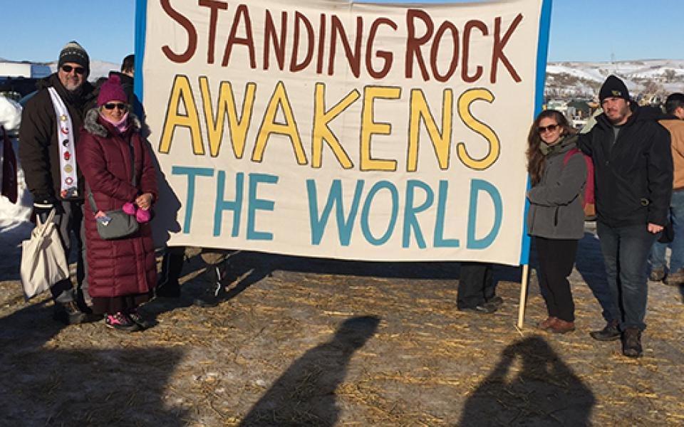 standing rock photo poster