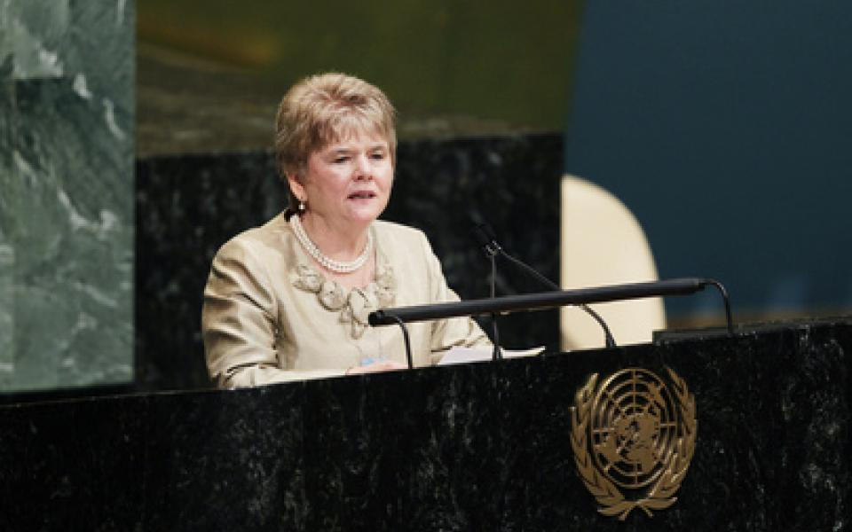 Monica speaking at the UN