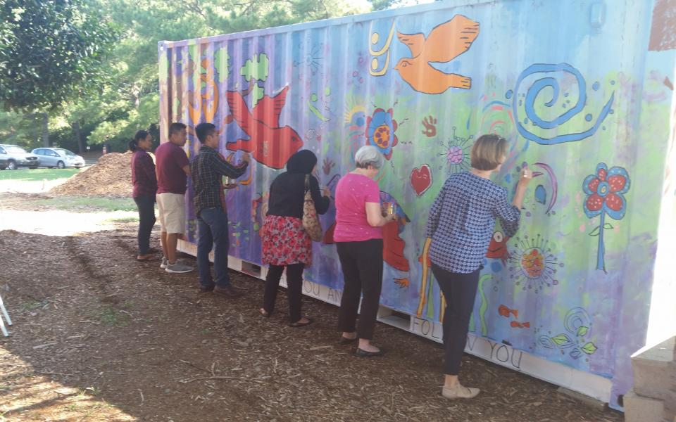 Charlotte Red Bench Garden Celebrates Peace Day
