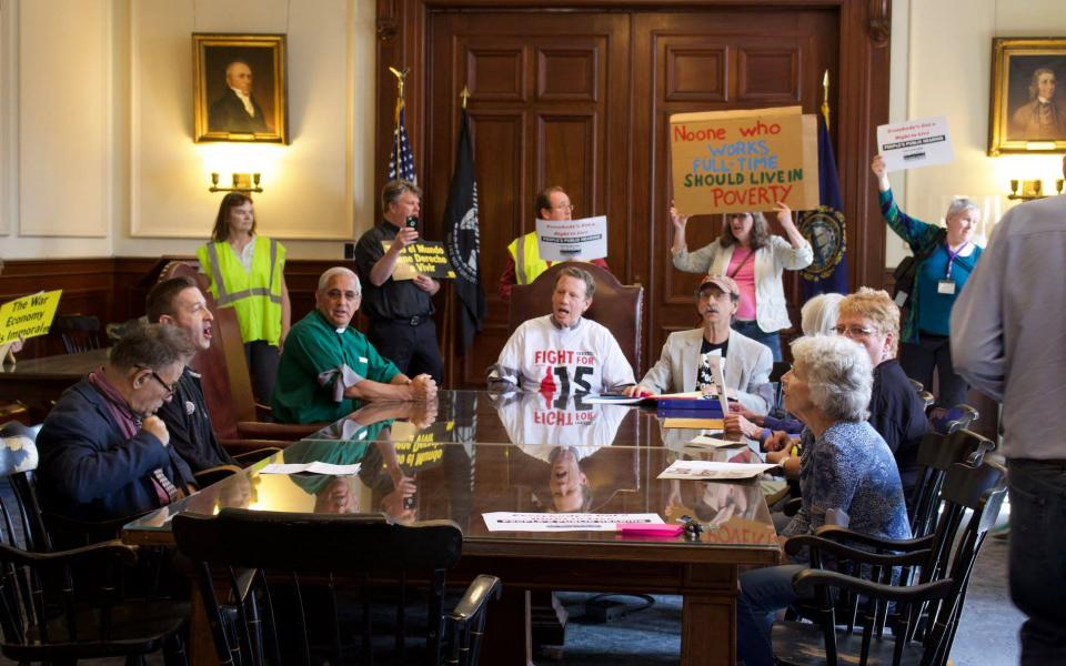 Poor People Campaign New Hampshire gather for a hearing