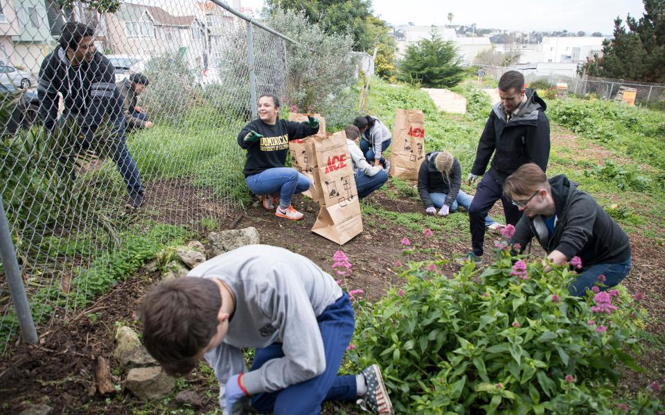 Habitat volunteers work on the Palou Phelps Community Garden in the Bayview neighborhood of San Francisco.
