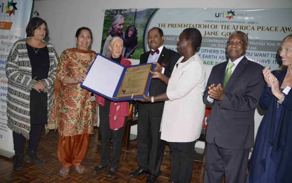 Dr. Jane Goodall Receives Africa Peace Award From URI-Africa