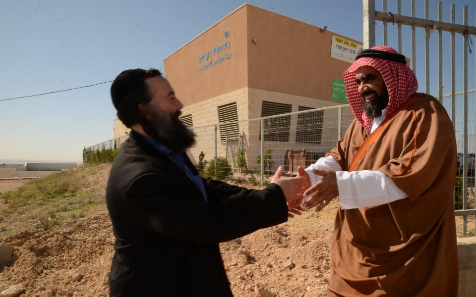 Sheikh Tared Atouna, the Imam of the Bedouin city of Hura, welcomes Abrahamic Reunion leader Eliyahu McLean