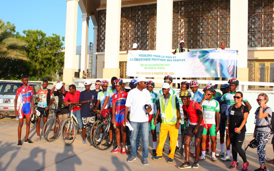 Group at cycling event