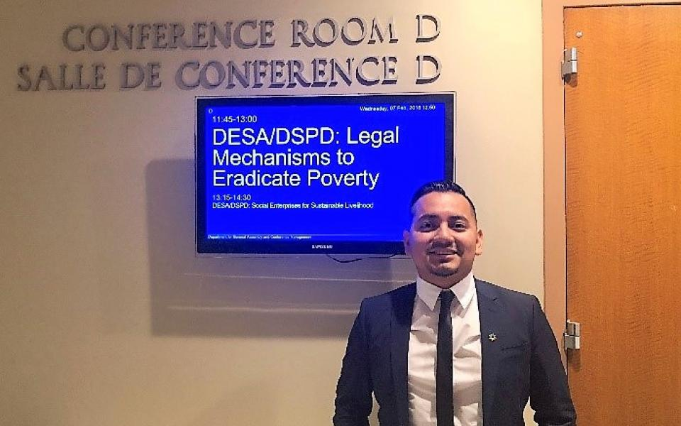 Rico Ocampo at the United Nations attending a panel on poverty