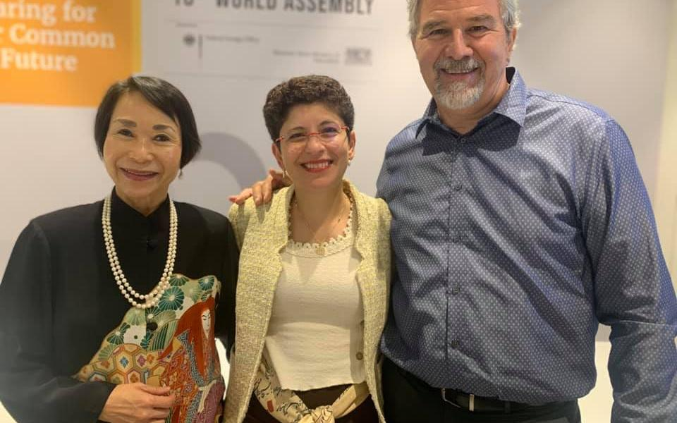 Audrey Kitagawa, Chair of the Parliament of the World's Religions, and Azza Karam, new Secretary-General of Religions for Peace, with The Rev. Victor H. Kazanjian, Jr., URI Executive Director.