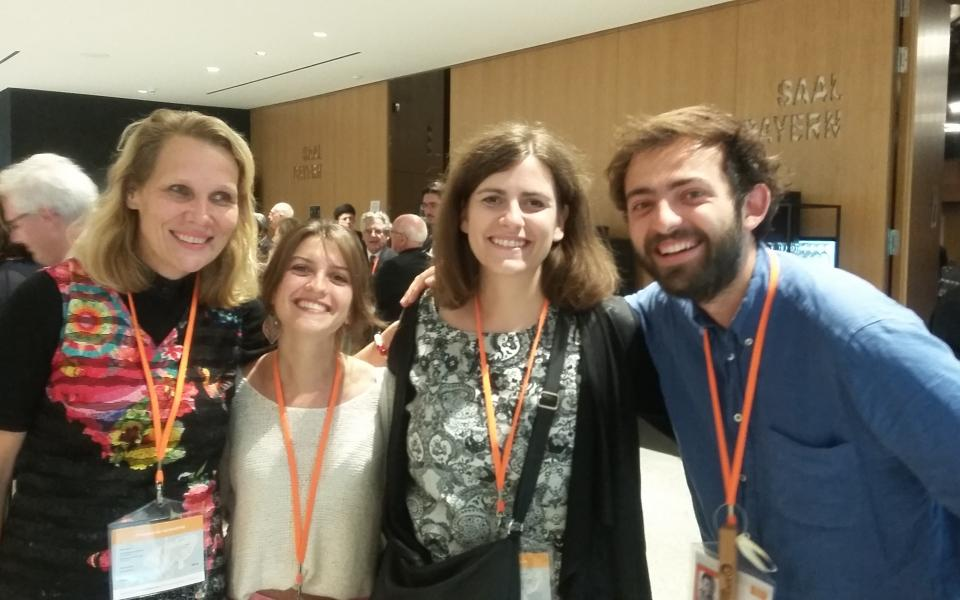 Heidi from Faith Without Borders CC, Benedeicte from Coexister CC, Lejla, and Eloi from Coexister CC
