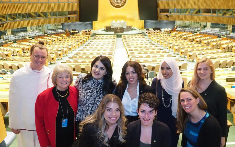 URI young leaders in the UN General Assembly room