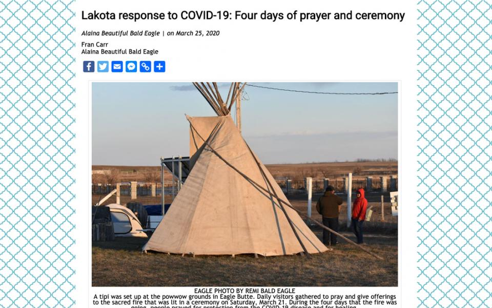 Lakota Response to COVID-19 Includes Four Days of Prayer and Ceremony