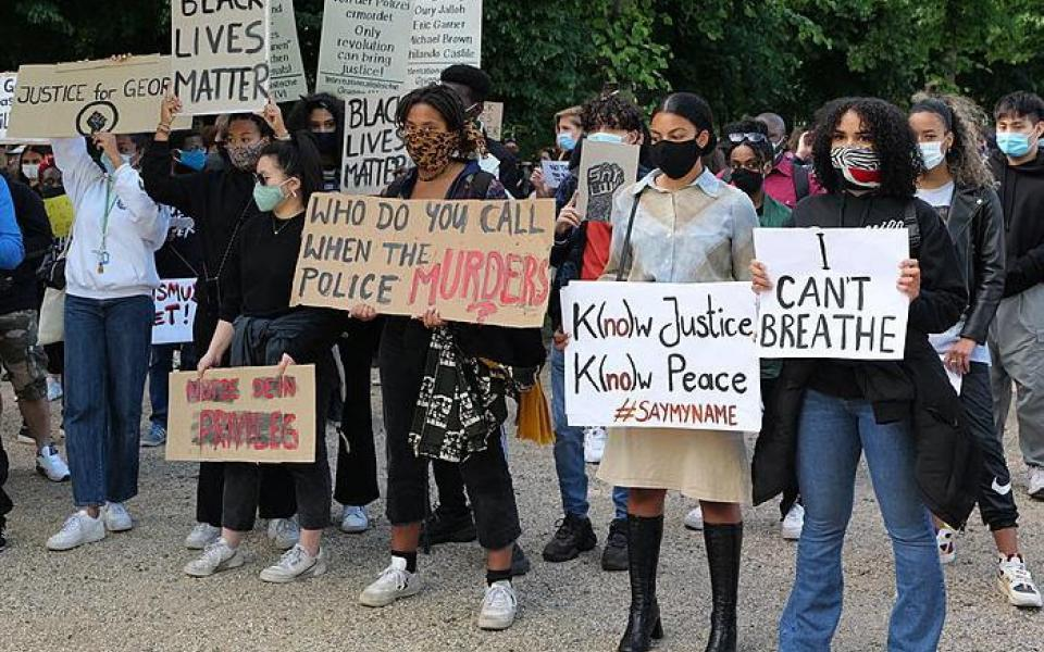 Protest against racism and police violence at the US embassy in Berlin after the murder of George Floyd by a police officer in the United States on 30 May 2020. PHOTO CREDIT: Leonhard Lenz, Wikimedia Commons