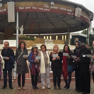 People reading The Nuclear Prayer in Medjugorje